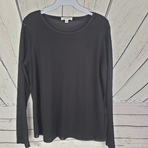 CALVIN KLEIN | black with lace long sleeve top L